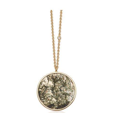 Moss Agate Gold Necklace, ${color}