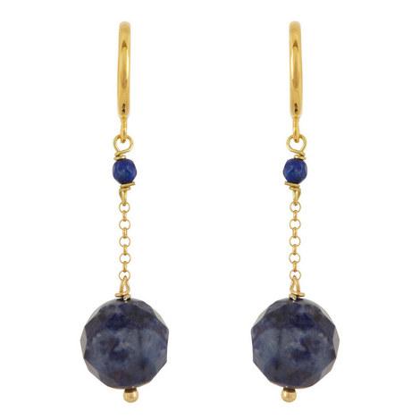 Dumortierite Stone Drop Earrings, ${color}