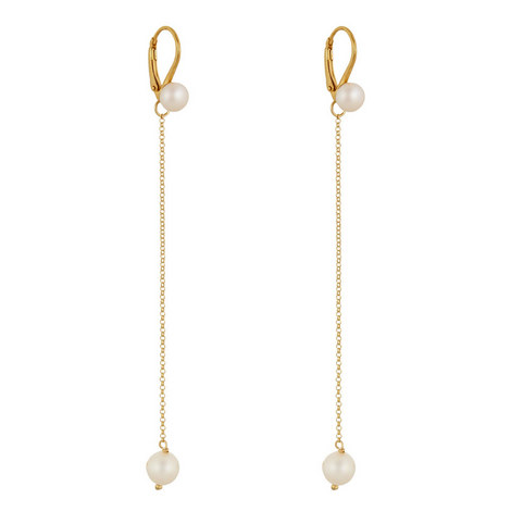 Long Chain Pearl Earrings, ${color}