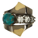 Stacked Zircon & Turquoise Ring, ${color}