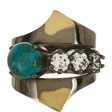 Stacked Zircon & Turquoise Ring