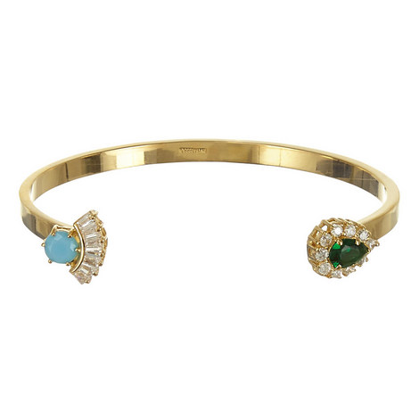 Zircon and Turquoise Open Cuff Bangle, ${color}