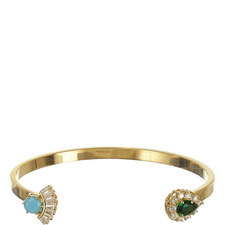 Zircon and Turquoise Open Cuff Bangle