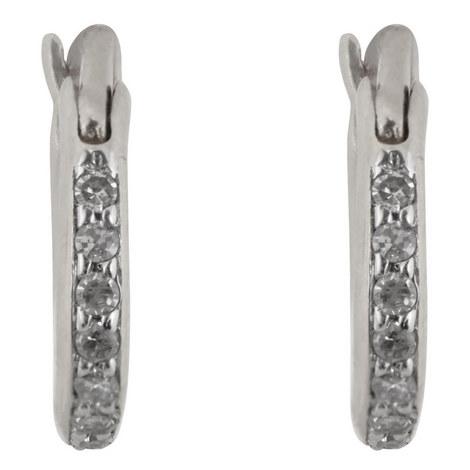 Pavé Diamond Hoop Earrings, ${color}