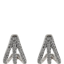 Pavé Diamond Triple Hoop Earrings