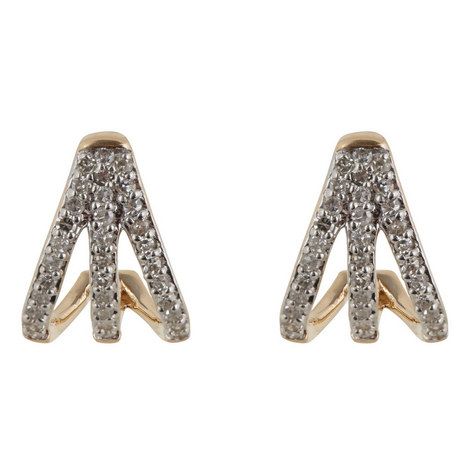 Pavé Diamond Triple Hoop Earrings, ${color}