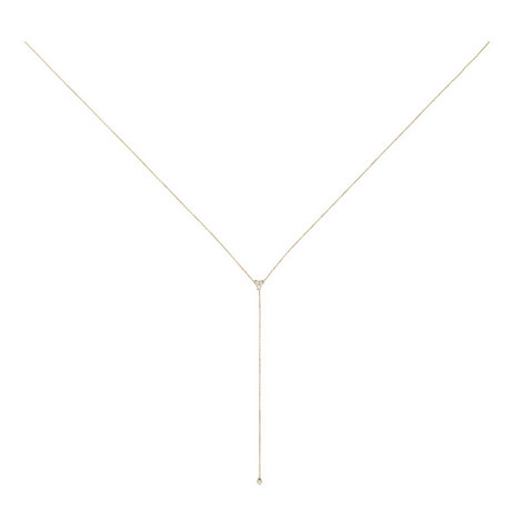 Double Diamond Cluster Lariat Necklace, ${color}