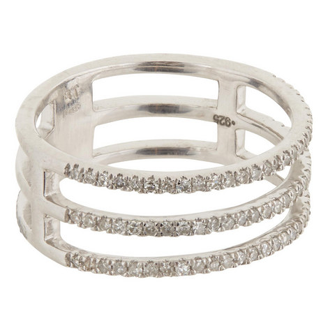 Pavé Diamond Triple Band Ring, ${color}
