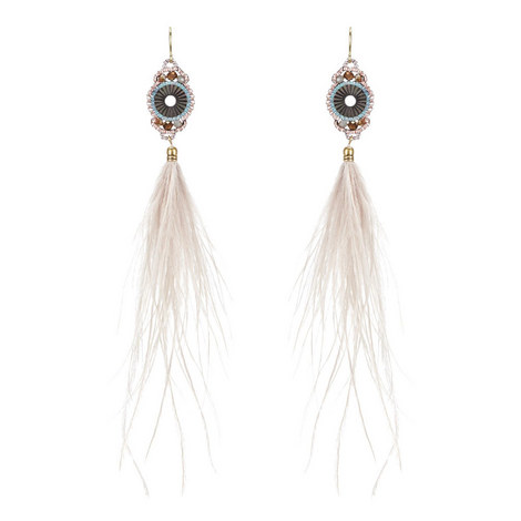 Long Feather Drop Earrings , ${color}