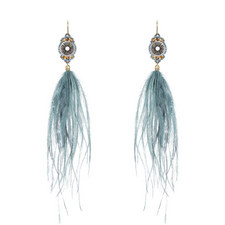Long Feather Drop Earrings