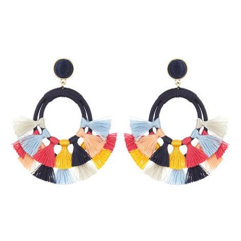 Ayana Tassel Hoop Earrings, ${color}