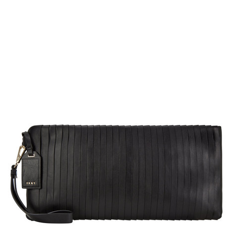 Pleated Leather Clutch, ${color}