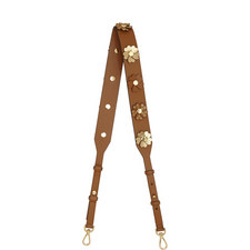Floral Appliqué Leather Handbag Strap