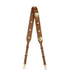 Floral Appliqué Leather Handbag Strap