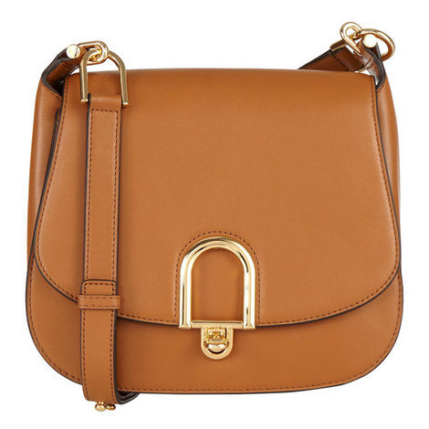 Delfina Leather Saddle Bag Large, ${color}