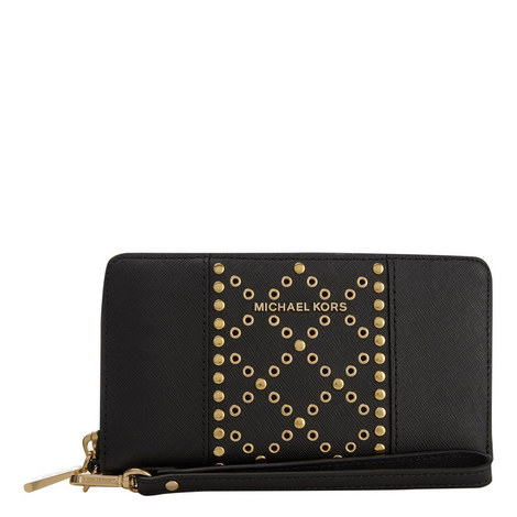Saffiano Leather Grommet Phone Case, ${color}