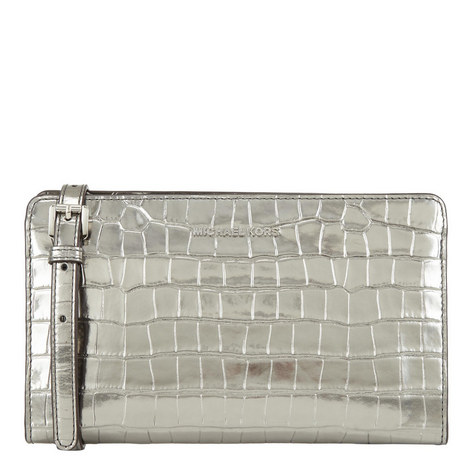 Croc-Embossed Leather Crossbody Clutch, ${color}