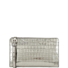 Croc-Embossed Leather Crossbody Clutch