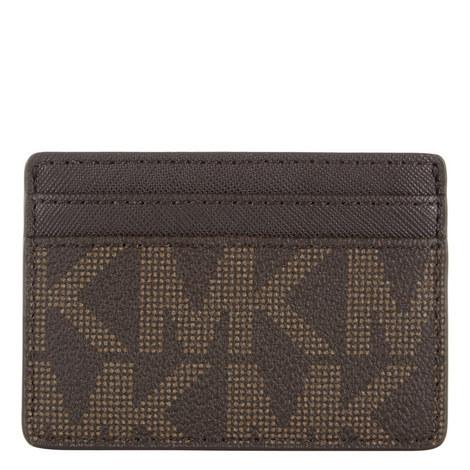 Jet Set Logo Leather Cardholder, ${color}