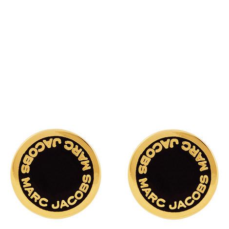 Logo Disc Stud Earrings, ${color}
