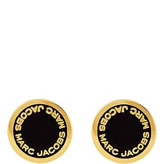 Logo Disc Stud Earrings