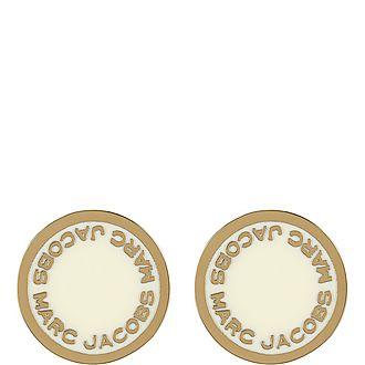 Logo Disc Stud Earrings