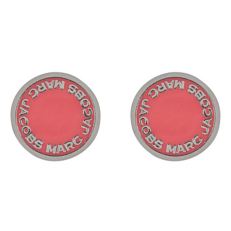 Logo Disc Stud Earrings, ${color}