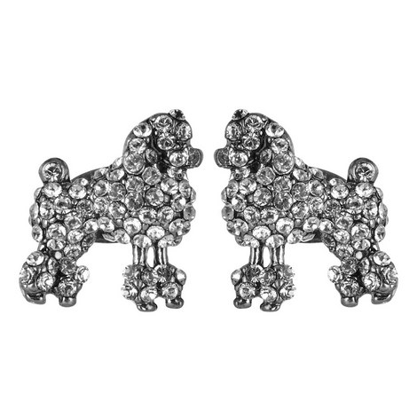 Crystal Poodle Stud Earrings, ${color}