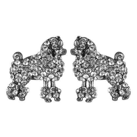 Crystal Poodle Stud Earrings, ${color}