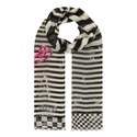 Slogan Print Stripe Scarf, ${color}