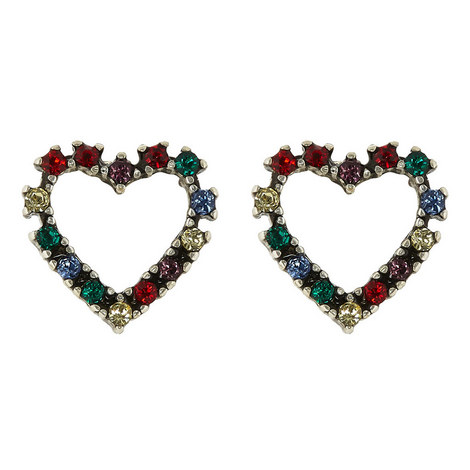 Crystal Pavé Heart Stud Earrings, ${color}