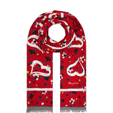 Flower and Heart Wool Scarf