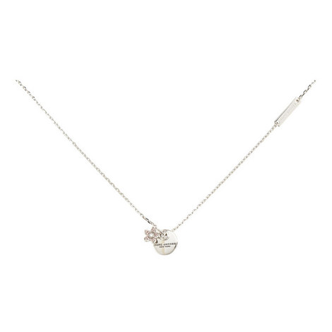 Coin Floral Crystal Pendant Necklace, ${color}