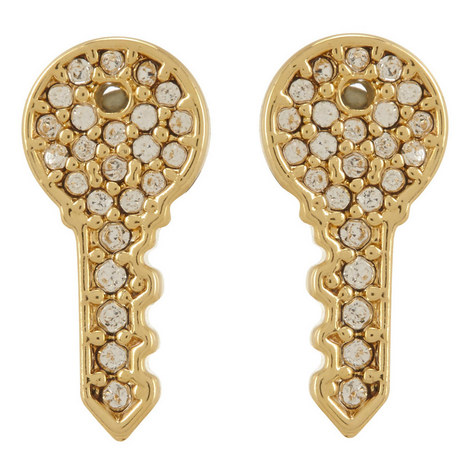 Pavé Key Stud Earrings, ${color}
