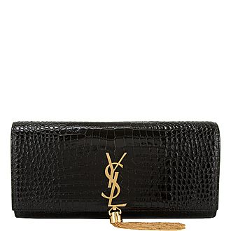 Kate Croc-Embossed Clutch