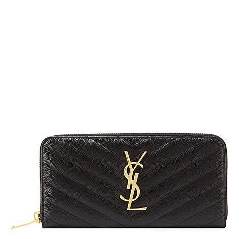 Monogram Quilted Zip Around Wallet, ${color}