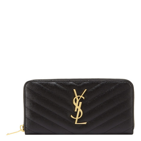 Monogram Quilted Zip Around Wallet, ${color}