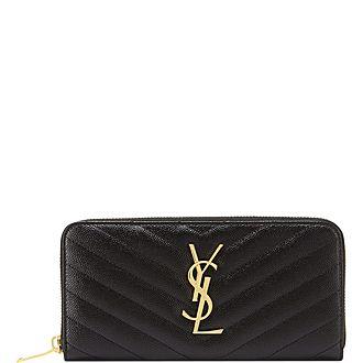 Monogram Quilted Zip Around Wallet