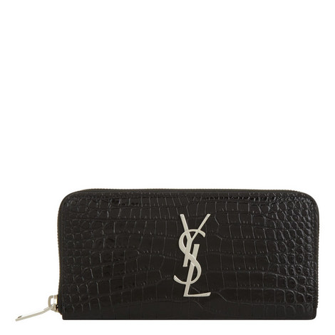 Monogram Crocodile-Embossed Wallet, ${color}