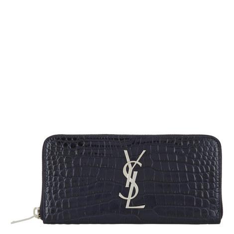 Monogram Crocodile-Embossed Wallet, ${color}