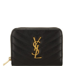 Monogram Quilted Zip Around Wallet