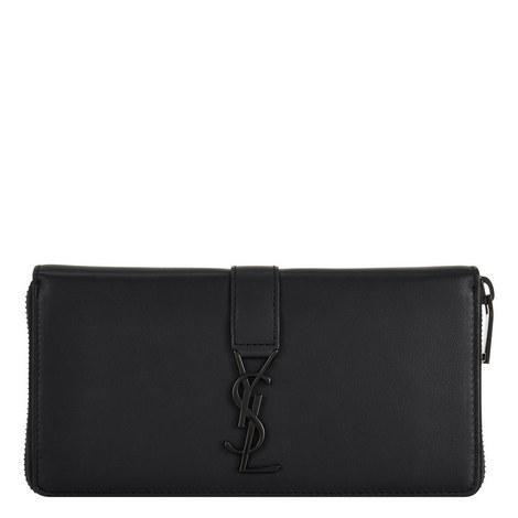 Monogram Leather Zip-Around Wallet, ${color}