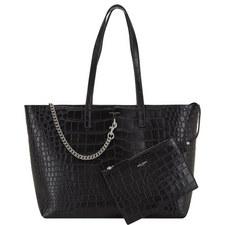 Croco Print Chain Shopper Bag