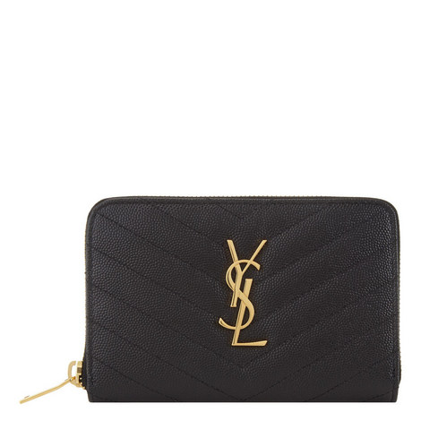 Monogram Quilted Zip Around Wallet Small, ${color}