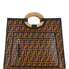 Logo Leather Shopping Bag Large