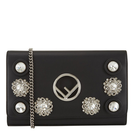 Crystal Chain Wallet Bag, ${color}