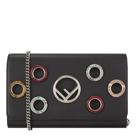 Eyelet Chain Wallet Bag, ${color}