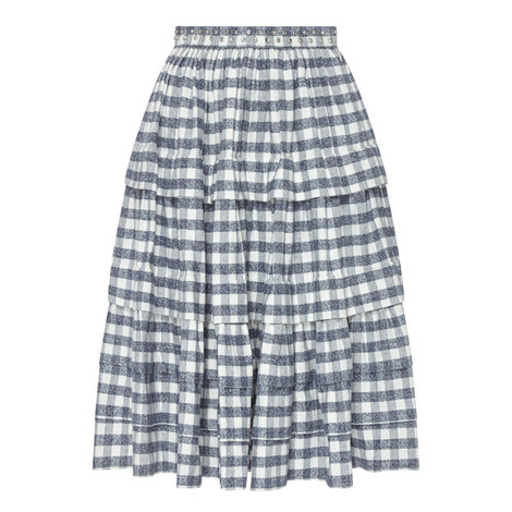 Plaid Encrusted Skirt, ${color}