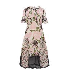 Gathered Detail Rose Print Dress