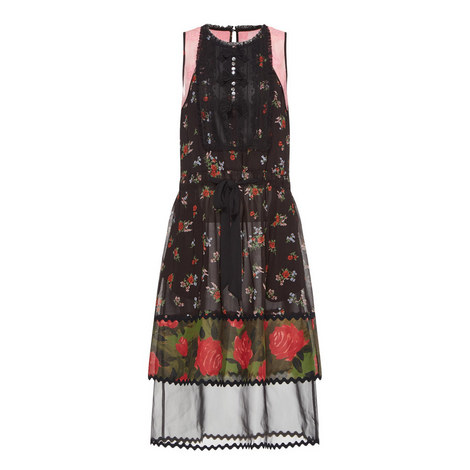 Floral Bib Tiered Dress, ${color}